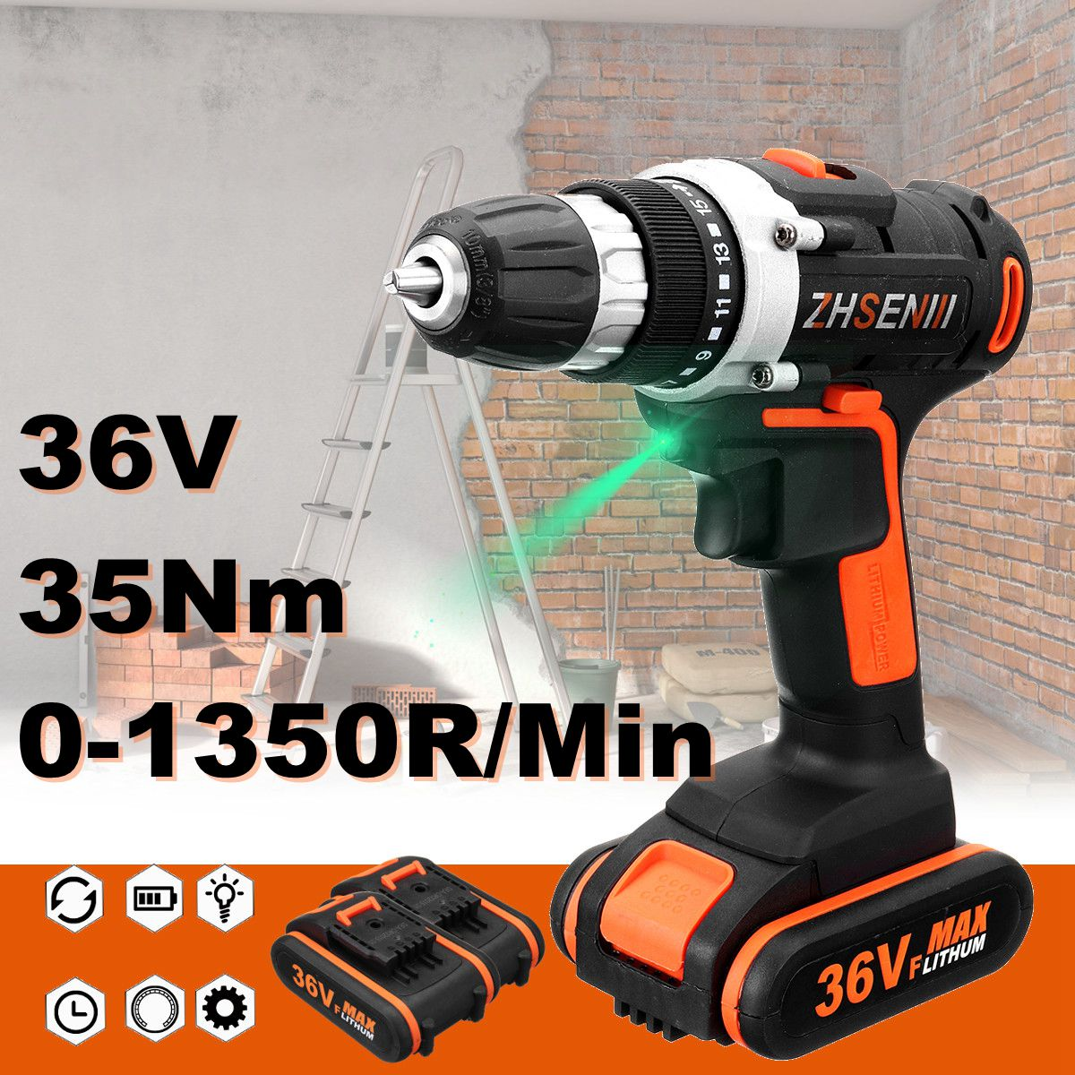 Max 36 V tournevis électrique batterie au Lithium Rechargeable Parafusadeira Furadeira multi-fonction perceuse sans fil outils électriques