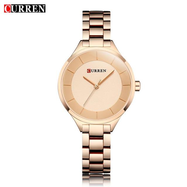 CURREN Rose Gold Watch Women Watches Ladies Stainless Steel Women's Bracelet Wat