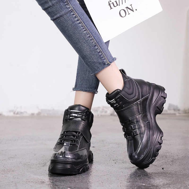 INS İngiliz kalın alt kar botları kadın Lace Up Martin çizmeler kadın platformu ayak bileği askeri botlar sıcak kürk kış kadın spor ayakkabı