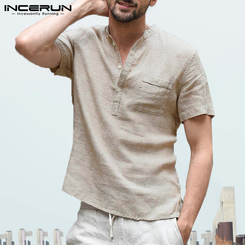 INCERUN Fashion 2020 New Summer Mens Casual Shirts Short Sleeve V Neck Basic Blouse Casual Loose Thin Tops Men Plus Size S-3XL