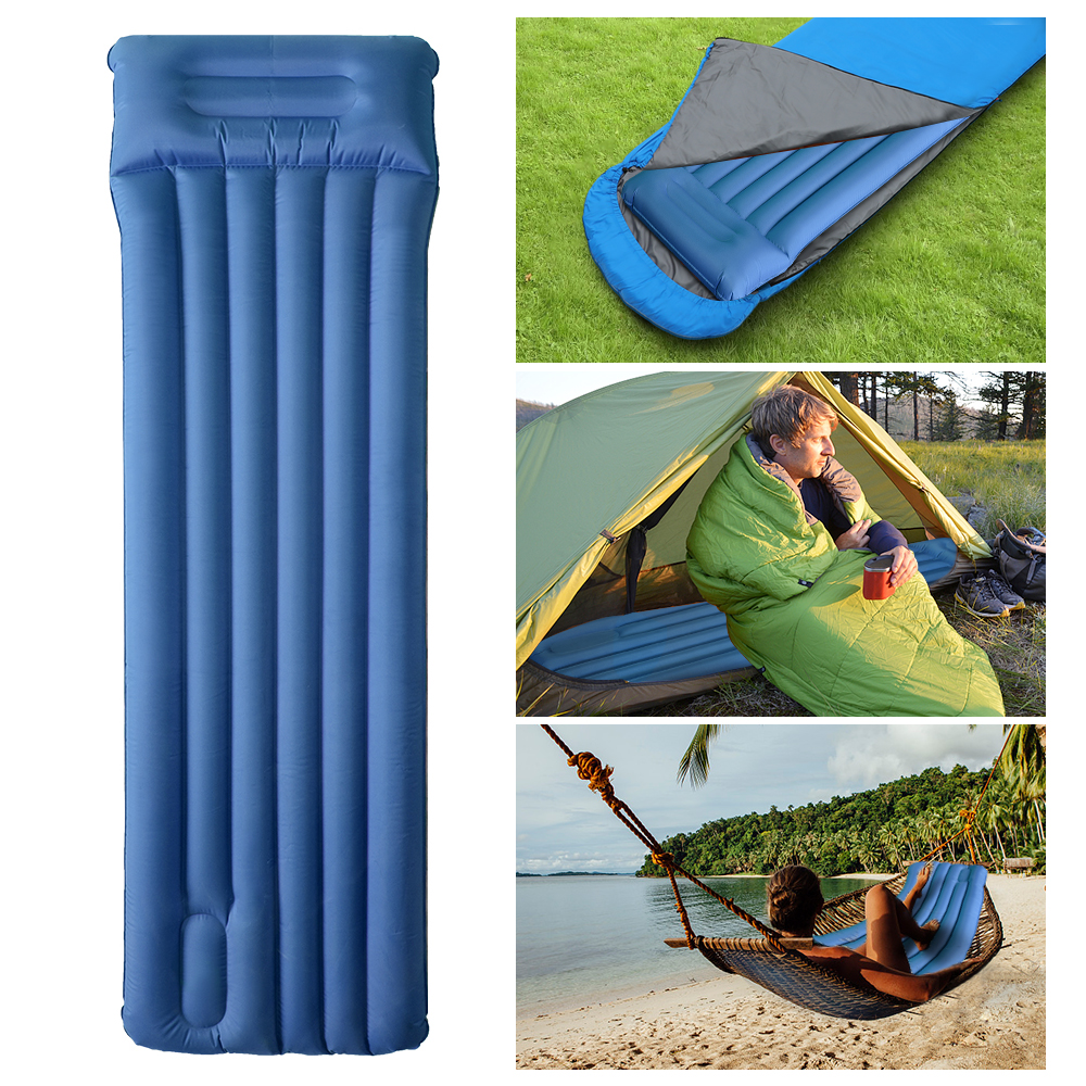 Outdoor Inflating Sleeping Pad Air Mattress With Pillow Inflatable Camping Mat Picnic Pad Hiking Backpacking Beach