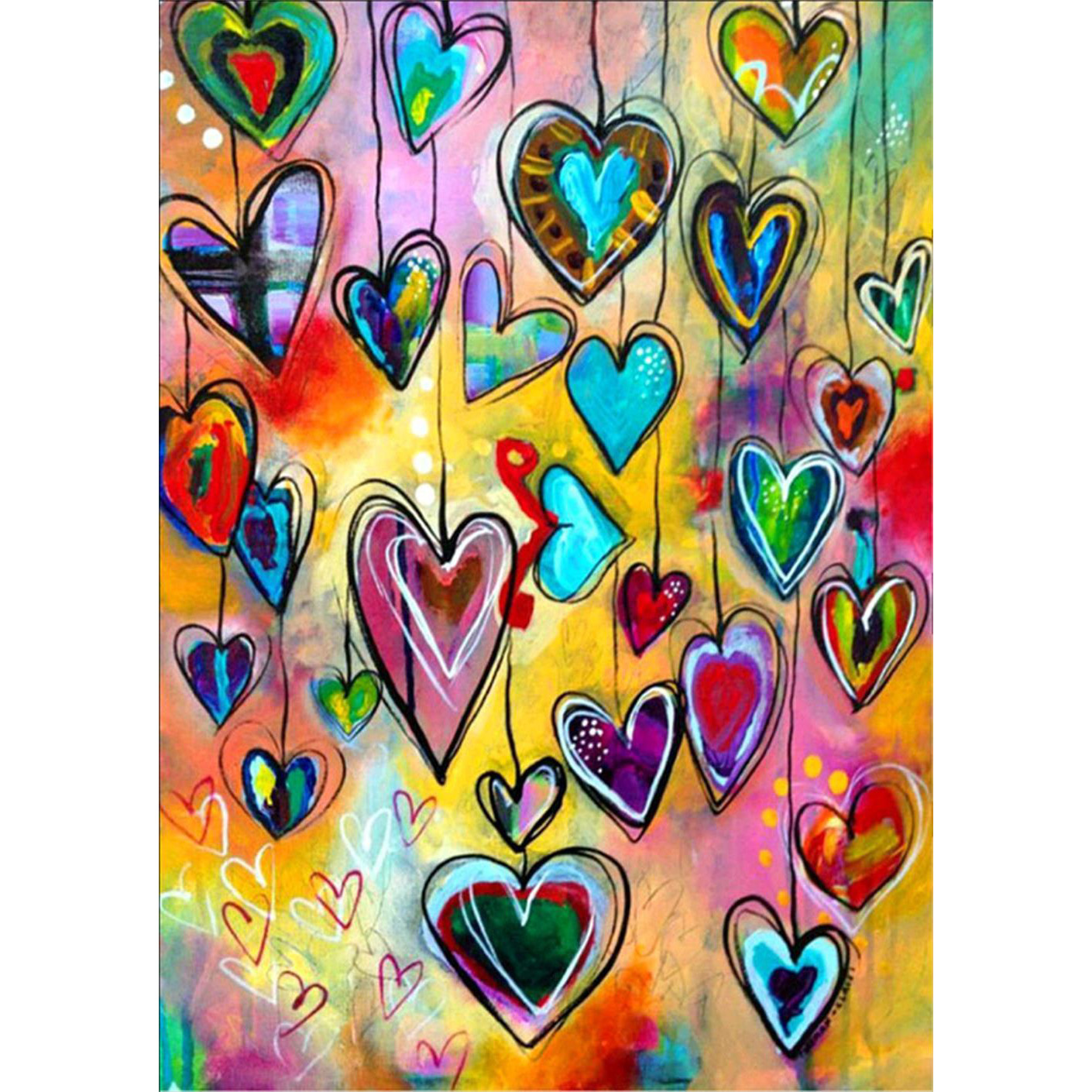 5D Diy יהלומי ציור רקמת תפר צלב צבעוני לב רקמה מלאכה-בבד לציור מתוך ציוד למשרד ולבית הספר באתר