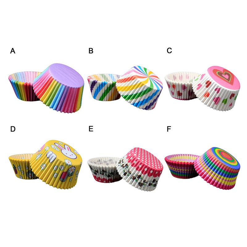 100PCS DIY Baking Muffin Cake Paper Cup Oil-Proof Chocolate Paper Tray Egg Tart Holder Kitchen Cupcake Cases Cake Mold