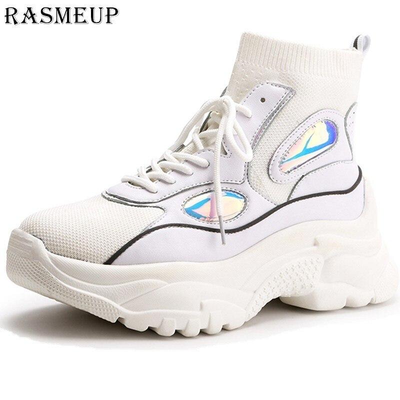 RASMEUP High Top Plate-Forme Sneakers Femmes 2019 Printemps Nouveau Glitter chaussette tricotée chaussures pour femme Papa Chunky Femmes de Baskets Chaussures