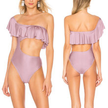 Seksi One Piece Swimsuit Wanita Wanita Push Up Shoulser Ruffle Bodysuit 2019 Wanita Pantai Mandi Baju Renang(China)