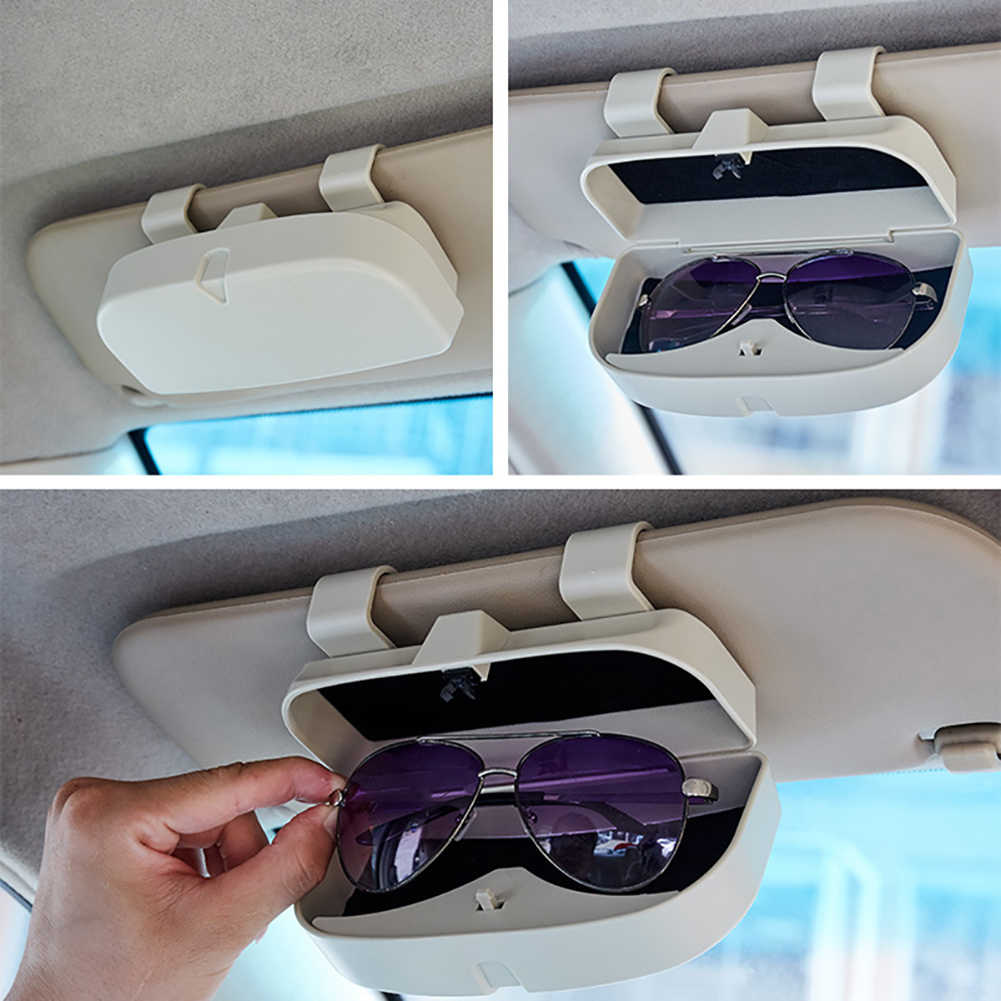 Car Sun Visor Glasses Case Organizer Glasses Storage Box Holder Visor Sunshade Pockets Auto Accessories