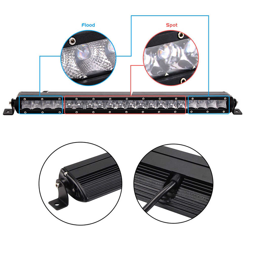 Led Light Bar 30W 50W 100W 150W 200W 250W Offroad Driving Work Lamp 12v 24v Barra Led Lightbar for Off road SUV Truck Pickup 4x4