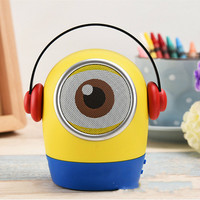 Portable Bluetooth Loudspeaker Little Yellow Man Cartoon Speaker Cute Style stereos Audio Speaker with two in one charging line