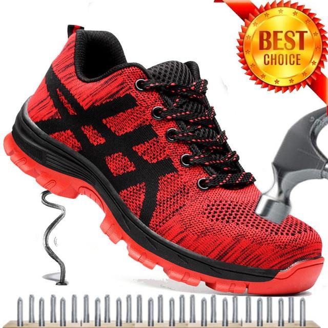 プラスサイズ 35-46 ワークブーツの男性の安全靴エアメッシュ作業靴男性ブーツ高品質鋼つま先安全ブーツ男性
