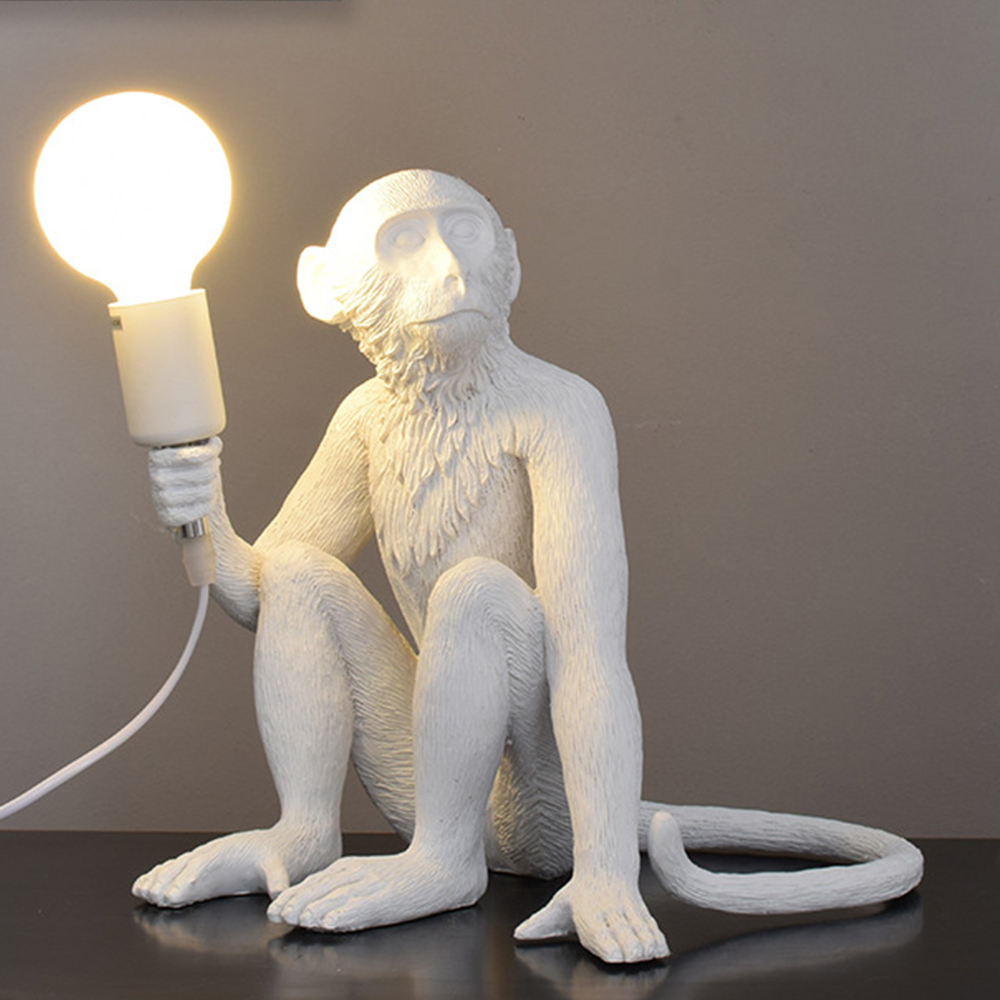 Résine noir blanc or singe lampe suspension pour salon lampes Art Parlor salle d'étude Led lumières lustre avec E27 Led ampoule - 4
