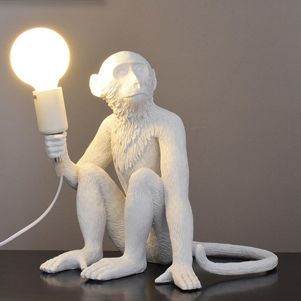 Resina preto branco ouro macaco lâmpada pingente luz para sala de estar lâmpadas sala estar estudo arte sala luzes led lustre com e27 lâmpada led - 4