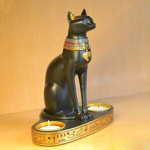 Starożytny egipt Bastet Cat bogini statua z 2 świeczniki na małe świeczki palnika (7.5