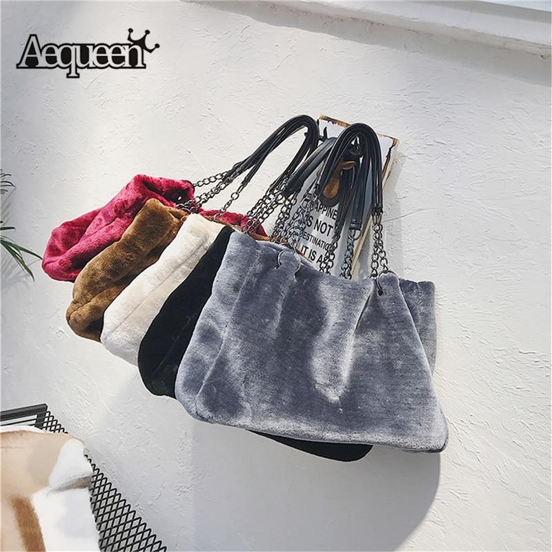 AEQUEEN Women Handbag Large Capacity Luxury Faux Fur Bags For Women Winter Shoulder Bag Females Tote Top-handle Feminine Bolsa