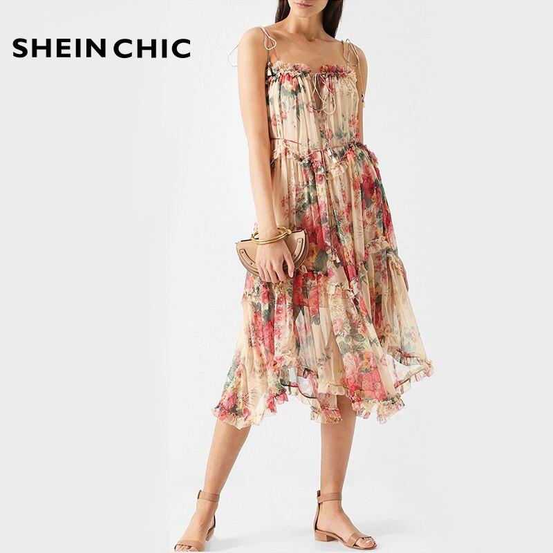 Bohème été plage fête vacances femmes robe 2019 piste Spaghetti sangle sans manches robe Midi élégant volants robe florale