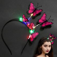 Cute Creative Headband Fashion Luminous Colorful Lights Butterfly Party Decoration Supplies