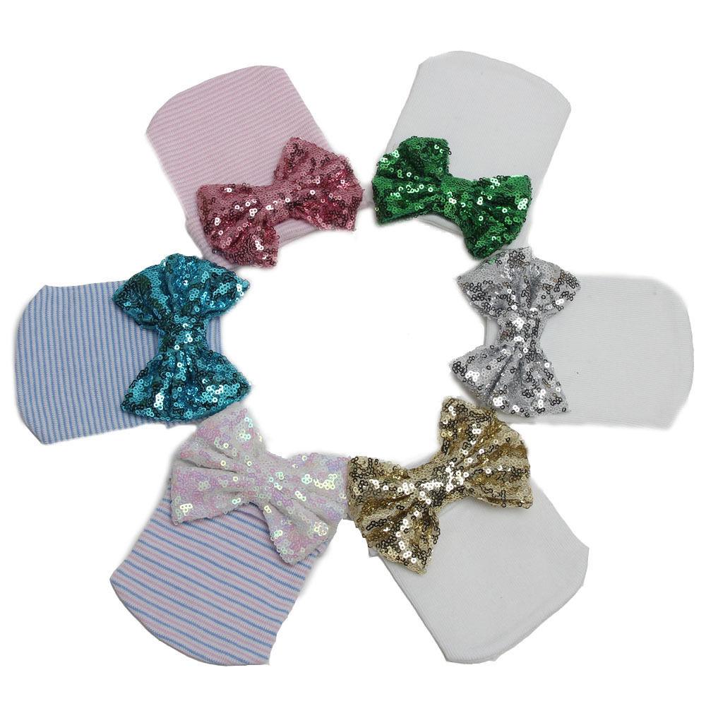 Newborn Baby Girls Stripe   Skullies     Beanies   Sequined Bowknot   Beanie   Knitted Cotton Hospital Hat