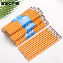 EZONE 5 шт. с изображением желтой деревянной ручкой HB карандаш обычный карандаш студент письменный стол/карандаш для рисования скетчей с ластиком карандаш расширитель