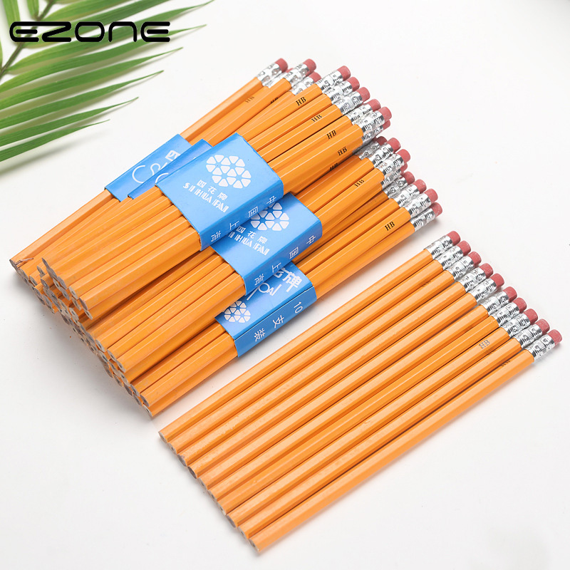 EZONE 5PCS Yellow Wooden Handle HB Pencil Ordinary Pencil Student Writing Drawing Sketch Pencil With Eraser Pencil Extender