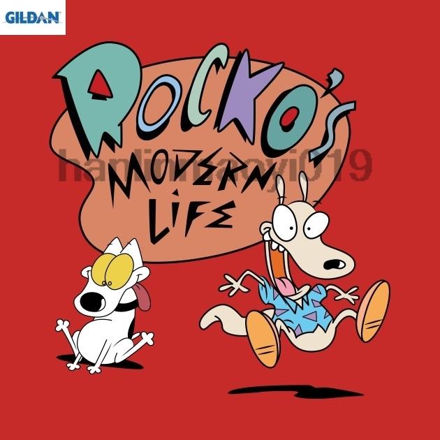 GILDAN rockos modern life Summer 2018 Cotton T Shirts Men 39 s Big Size T Shirts Short Sleeve Slim Fit Fashion Tops in T Shirts from Men 39 s Clothing