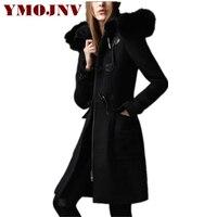 YMOJNV высокое качество осень зима шерстяное пальто для женщин натуральным лисьим меховой воротник с капюшоном средней длины тонкий рог КНОПК