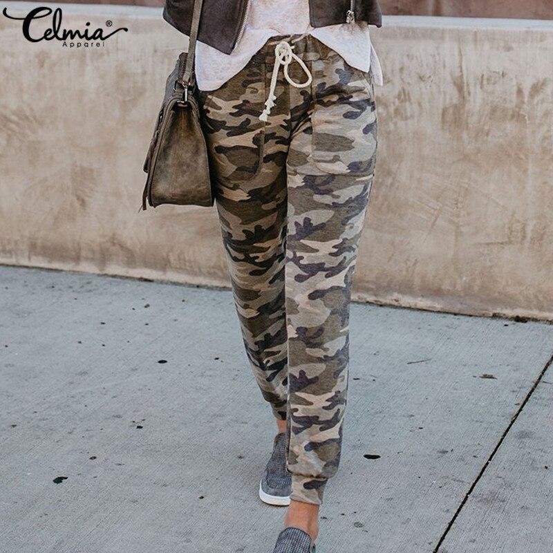 Celmia Women Mid Waist Camouflage   Pants   2019 Fashion   Capri   Trouser Ankle-Length Sweatpants Streetwear Camo Pockets Casual   Pants