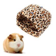 Small Animal Pet House Bed Rat Squirrel Guinea Pig Winter Warm Hanging House Cage Hamster Nest 26 x 25 x 24cm (Leopard Print)(China)