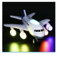LIN TING HAN large storytelling luminous aircraft early education light music airbus inertial taxi aircraft boy baby sound toy g