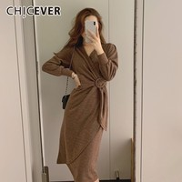 CHICEVER Spring Women's Dresses Female V Neck Long Sleeve High Waist Bandage Vintage Midi Dress Korean Fashion Clothes New