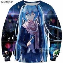 Anime Hatsune Miku 3D Print Sweatshirts Men/Women Cosplay Kawaii Blue Streetwear Hoodie Girls Modis Fashion Clothes Harajuku 5XL