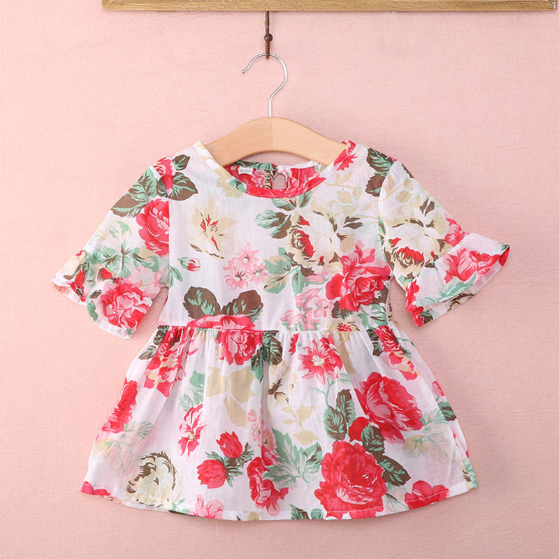 Pudcoco Blouse Toddler T-Shirt Tops Floral Girl Kids Summer Dress 1Y-6Y Outfits