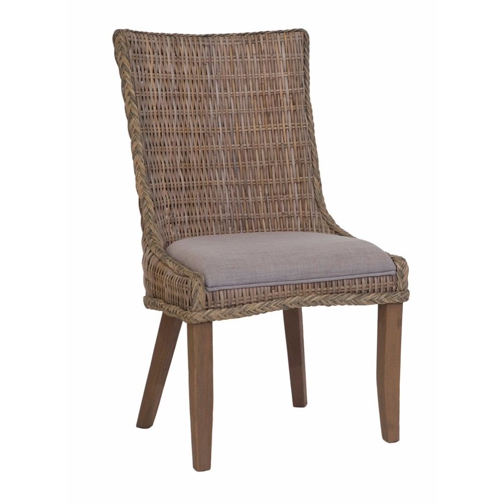 Wicker Woven Wooden Dining Chair, Brown And Gray, Set of 2