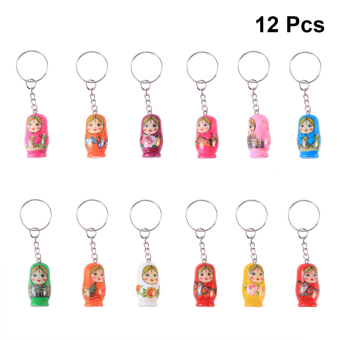 12pcs Russian Dolls Toy In Sale Wholsesale Wooden Doll Keychain Phone Babushka Matryoshka Hand Painted