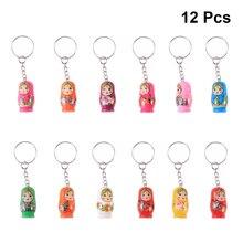 12pcs Russian Dolls Toy In Sale Wholsesale Wooden Doll Keychain Phone Babushka Matryoshka Hand Painted
