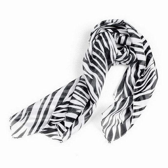 SODIAL(R) Black White Chiffon Zebra Strips Striped Women Shawl   Scarves     Wrap   Pashmina Gift
