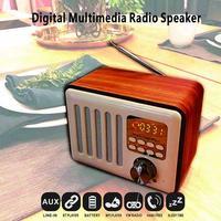 Retro Style Wooden Bluetooth Speaker Multifunctional Plug Card USB Flash Drive MP3 Player Connecting Mobile phone Digital Radio