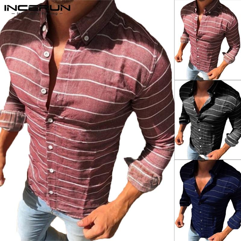 INCERUN Streetwear Mens camisas Vestido de manga larga de corte Slim solapa cuello Camisa a rayas camiseta de ropa de moda Camisa Hombre