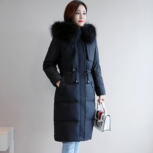 2018 New Winter Slim Down Jacket Long Section Drawstring Large Fur Collar Thick Warm Plus Size Feather Women Coat Female Ls246