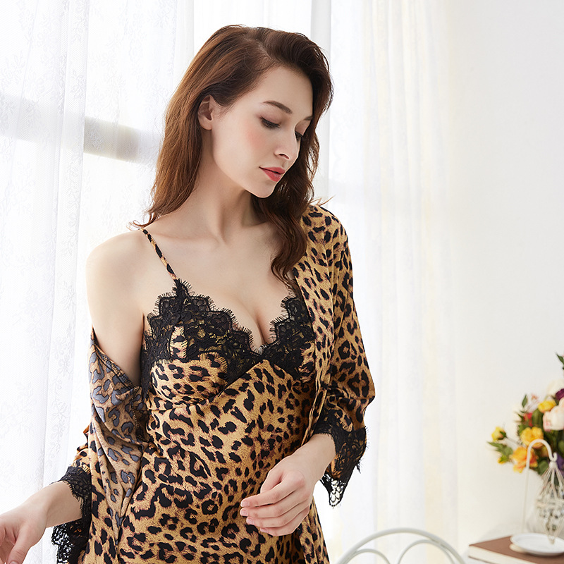 Fashion Leopard Nightgown Women Silk Sleep Lounge Night Dress Sexy Lace Satin Sleepwear Mini Dress Home Clothes Robe drop ship