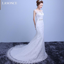 LASONCE Illusion O Neck Crystal Sash Mermaid Wedding Dresses Lace Appliques Sweep Train Backless Bridal Gowns