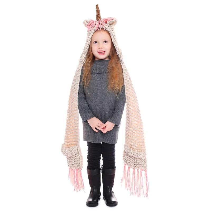 IANLAN Cute Kids Unicorn Hats Scarves Little Girls Winter Animal Style Cap Muffler With Tassels & Pockets 2-12 Years Old IL00180