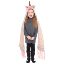 IANLAN Cute Kids Unicorn Hats Scarves Little Girls Winter Animal Style Cap Muffler with Tassels & Pockets 2-12 Years Old IL00180