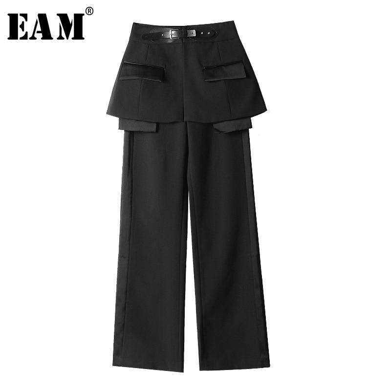 EAM 2019 New Spring Summer High Waist Black Belt Split Joint Personality Loose Pants Women