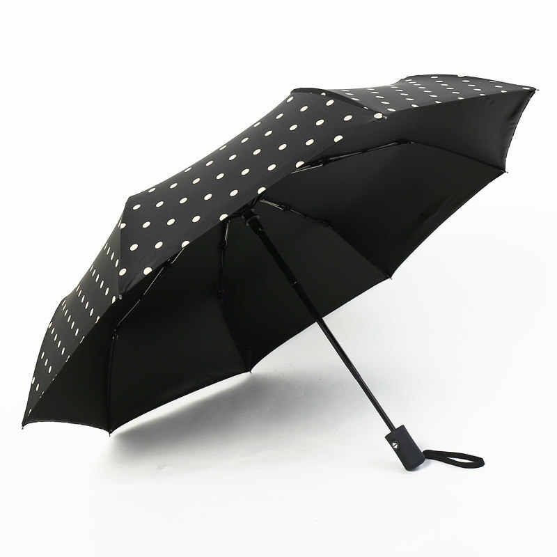 Monochrome Seamless Windproof Travel Umbrella Manual Tri-fold Umbrella
