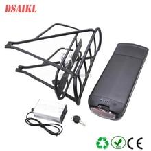 Free shipping 500W 750W ebike rear rack battery pack 48V 104Ah 116Ah 12Ah 13Ah 14Ah with electric bicycle luggage rack