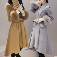 Elegant Slim Women Winter OL Sash Wool Blend Coat Casual Long Belt Woolen Jacket Solid Detachable Fur Nipped Waist Overcoat