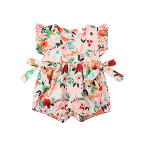 0-24M Newborn   Romper   Toddler Baby Girl Flower Ruffle Sleeveless Sunsuit Cotton Lovely Playsuit Clothing