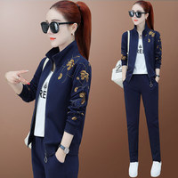 tracksuit for women 2019 spring female new fashion Grass embroidery jacket tops+pants suits female Casual two piece sets