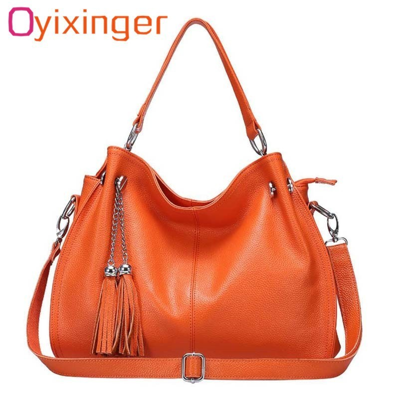 a3baa223d 100Real Mujer Moda Bolsas Bolsos Genuino Black Mensajero Casual orange  Cuero Elegante Oyixinger Borla MujeresBolso Las ...