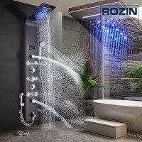 Насадка для душа со светодиодной подсветкой кран водопад дождь черная душевая панель в стене Душевая система с спа распылитель для массажа