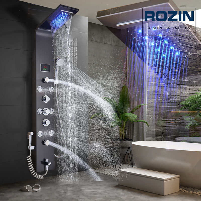 LED Light Shower Faucet Bathroom Waterfall Rain Black Shower Panel In Wall Shower System With Spa Massage Sprayer And Bidet Tap